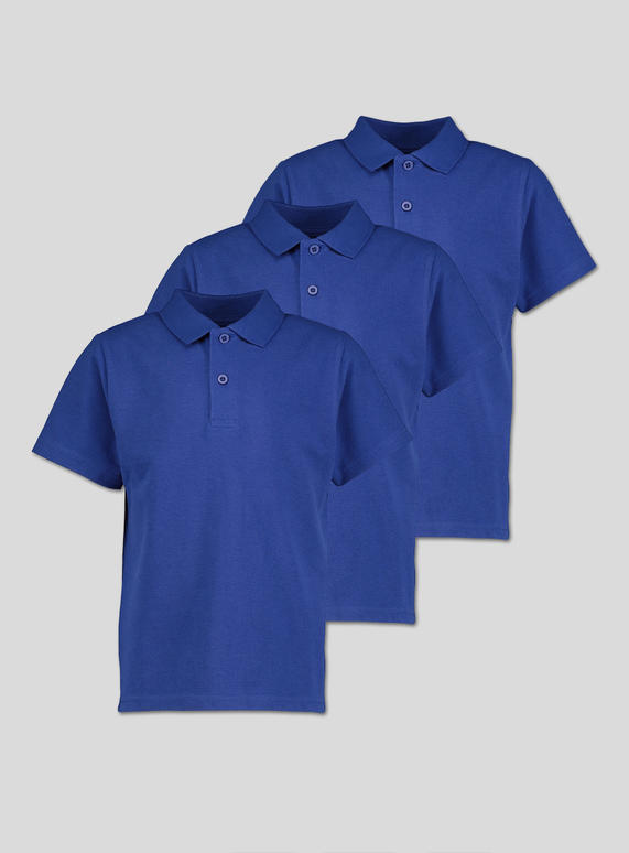 Online Exclusive Royal Blue Unisex Polo Shirts 3 Pack (3-12 years)
