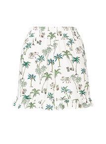 Elephant Print Frill Shorts