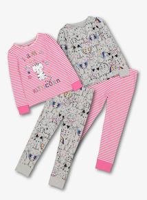 Pink Kitticorn Pyjamas 2 Pack (18 Months - 12 Years)