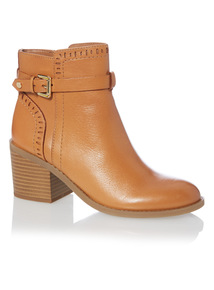 Camel Leather Punched Ankle Boots
