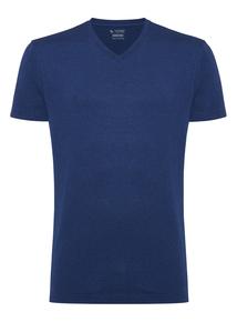 Blue Plain V-Neck T-Shirt