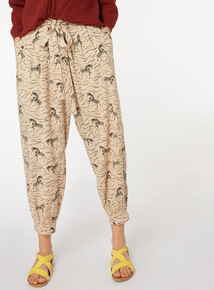 Zebra Print belted Harem Trousers