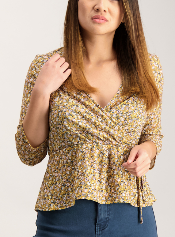 PETITE Online Exclusive Mustard Wrap Top