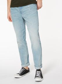 Light Wash Rip and Repair Slim Fit Jeans