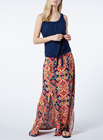 Multicoloured Patterned Maxi Skirt