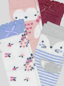 Multi Coloured Floral Animal Socks 4 Pack (1 - 24 months)
