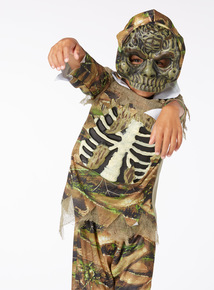 Green Halloween Zombie Outfit with Mask (3-14 years)