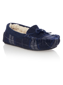 Kids Navy Check Moccasin Slipper