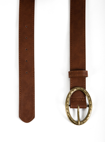 Brown Leather-Like Gold Buckle Belt