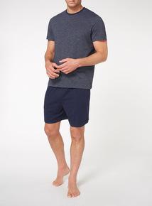 Navy Short Tee and Short Pyjama Set