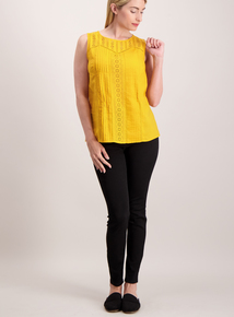 Mustard Embroidered Shell Top