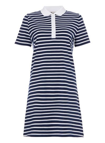 Navy Coastal Stripe Polo Dress