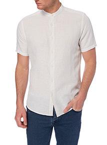 Stone Linen Slim Grandad Shirt