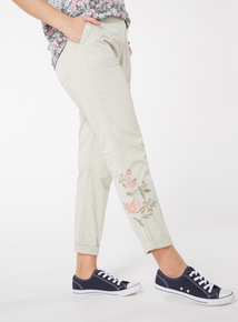 Floral Embroidered Cargo Trousers