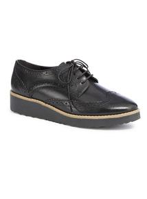 Black Premium Leather Platform Brogue