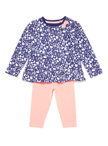 Blue Garden Print Top and Leggings Set (0-24 months)