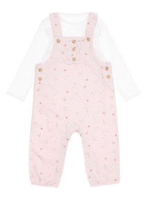 Girls Pink Jersey Dungaree and Body (0-12 Months)