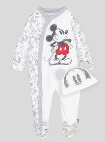 Disney Mickey Mouse Classic Sleepsuit With Matching Hat (0-18 Months)