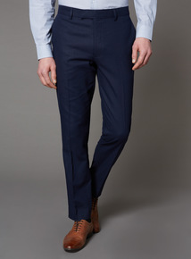 Navy Linen Herringbone Trousers