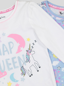 Multicoloured Unicorn Print Pyjama 2 Pack (18 months - 12 years)