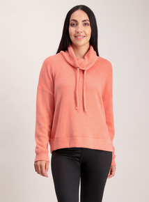 Pink Soft Touch Cowl Neck Jumper