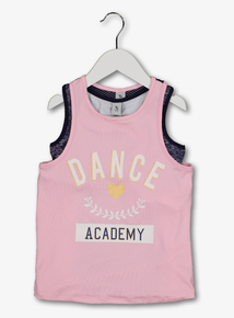 Pink Dance Vest Top With Space Dye Crop Top Set (5 -14 Years)