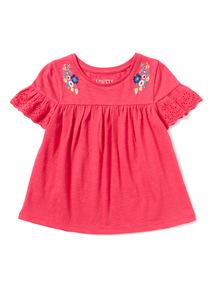 Pink Floral Embroidered Top (3-14 years)