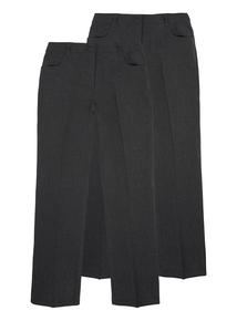 Girls Grey Longer Leg Trouser 2 Pack (13-16 years)