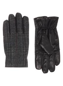 Grey Leather Harris Tweed Gloves