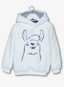 Cream Llama Fleece Hoodie