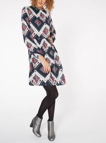 High Neck Volume Sleeve Dress