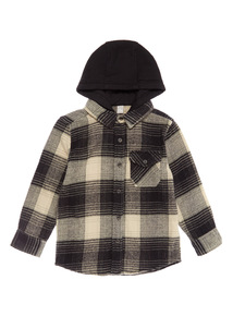 Grey and Cream Hooded Check Shirt (3-14 years)