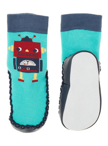 Boys Green Little Robot Moccasin Slipper