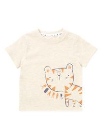 Cream Reverse Print Tiger T-Shirt (0-24 months)