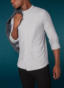 Premium Grey Twill Brushed Grandad Shirt