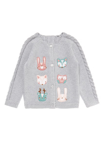 Grey Animal Embroidered Cardigan (0-24 months)