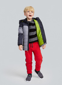 Grey Colour Block Puffer Jacket (3-14 years)