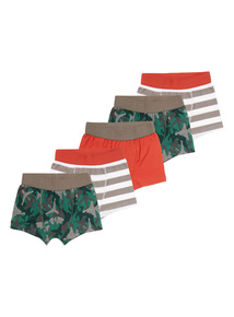 Boys Multicoloured Camo Trunks 5 Pack