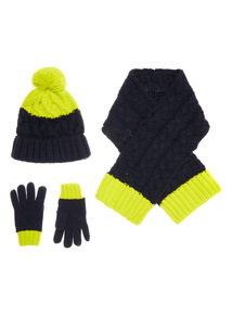 Navy and Lime Gloves Hat and Scarf Set