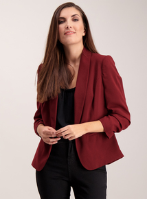 Berry Red Ruched Sleeve Blazer