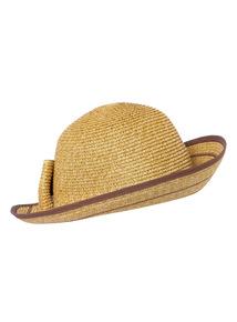 Bow Detail Straw Cloche Hat
