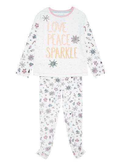 White Sparkle Doodle Christmas Pyjama Set (1-12 years)
