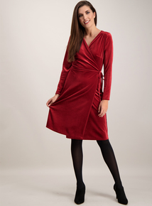 Berry Red Velvet Wrap Dress