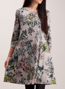 Online Exclusive Grey Floral Knit Look Swing Dress