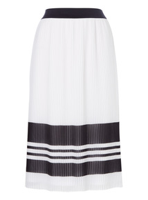 Mono Pleated Stripe Skirt