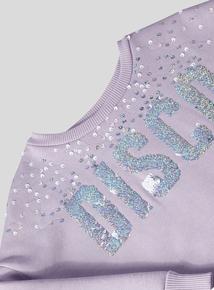 Lilac Sequin Disco Logo Sweatshirt (3-14 Years)