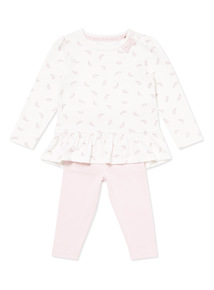 White Top and Pink Leggings Set (0-24 months)