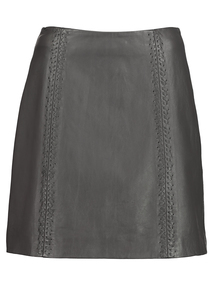 Online Exclusive Premium Charcoal Whipstitch Leather Skirt