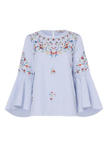Stripe Floral Embroidered Top