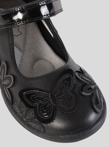 0482635c6fc Black Butterfly Detail Leather School Shoes (Infant 6 - 4)